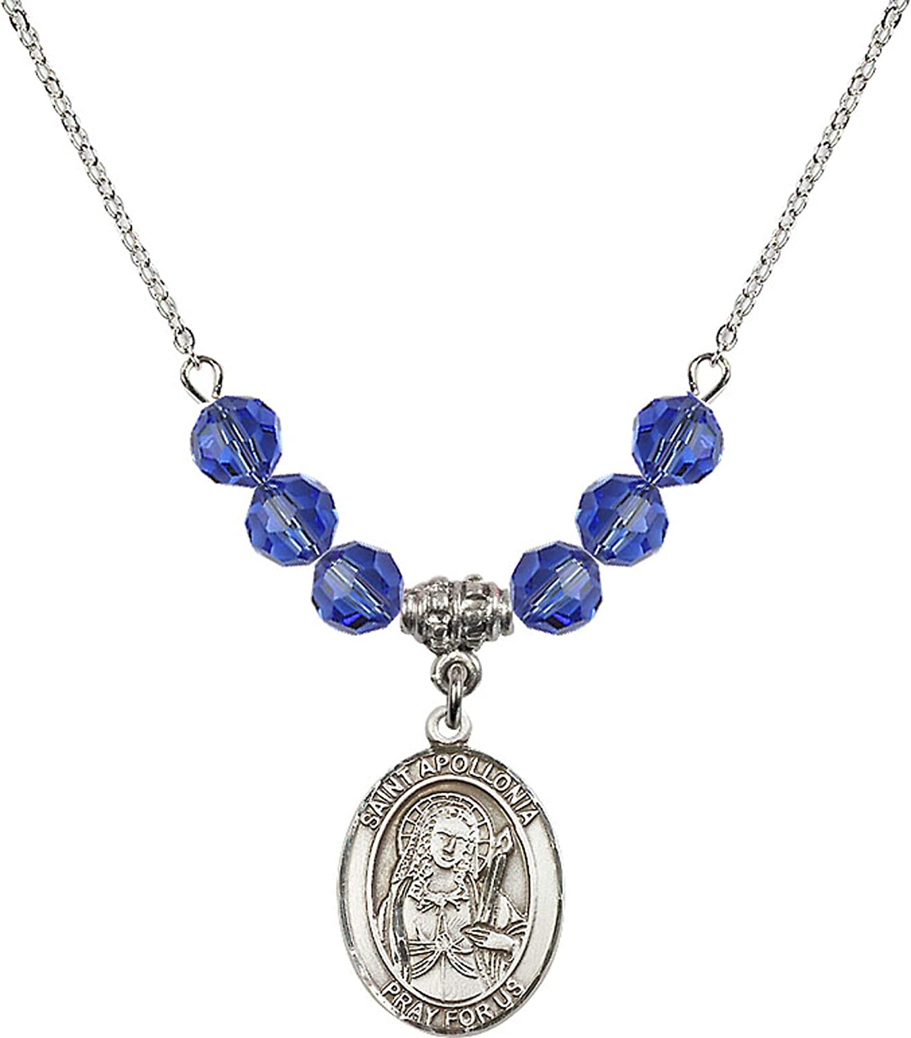 Bonyak Jewelry 18 Inch Rhodium Plated Necklace w// 6mm Blue September Birth Month Stone Beads and Saint Apollonia Charm