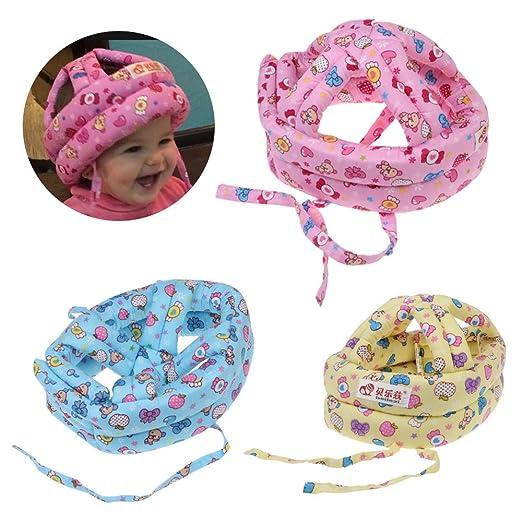 VANKER Bebé suave Casco de seguridad parachoques del cojín de cabeza Casco de sombrero de protección - Azul: Amazon.es: Bebé
