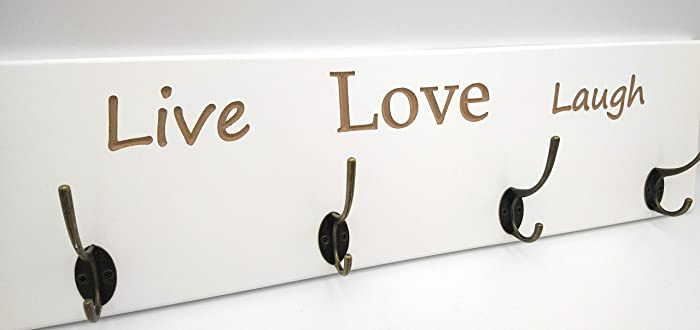 Perchero de pared lacado en Blanco con diseño LIVE LOVE ...