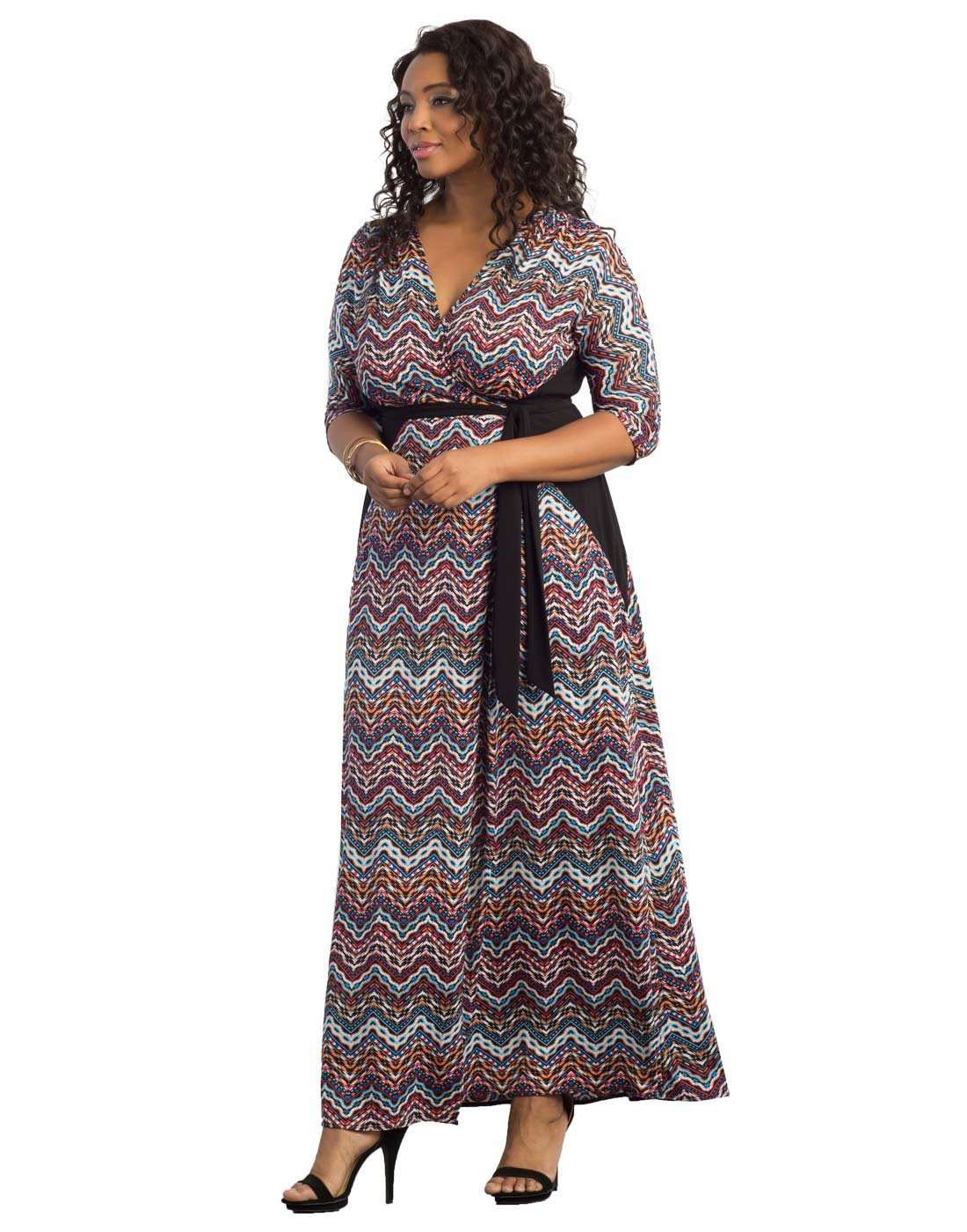 Kiyonna Women's Plus Size Moroccan Maxi Wrap Dress 2X Chevron Mix Print