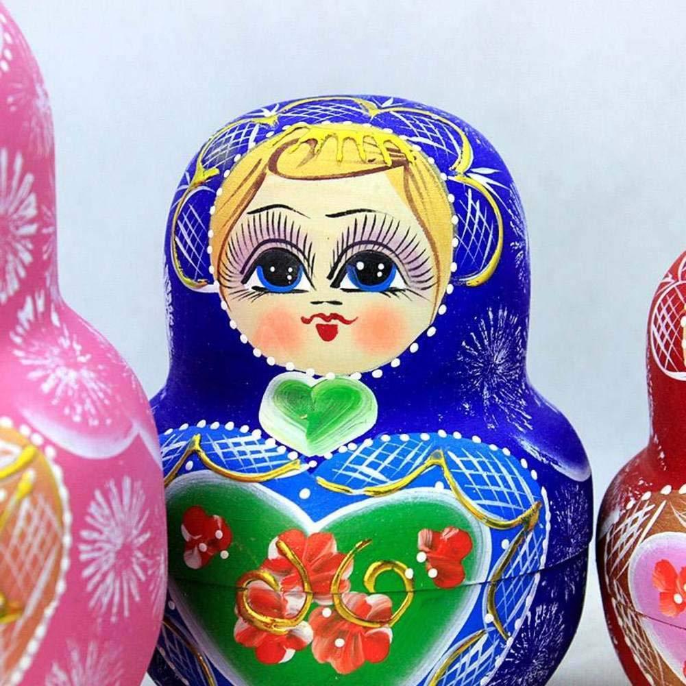 Nesting Dolls 15 Piece Matryoshka Nesting Dolls,Children's Wooden Stacked Nesting Handmade Toys Kids Best Gift by DADAO (Image #3)
