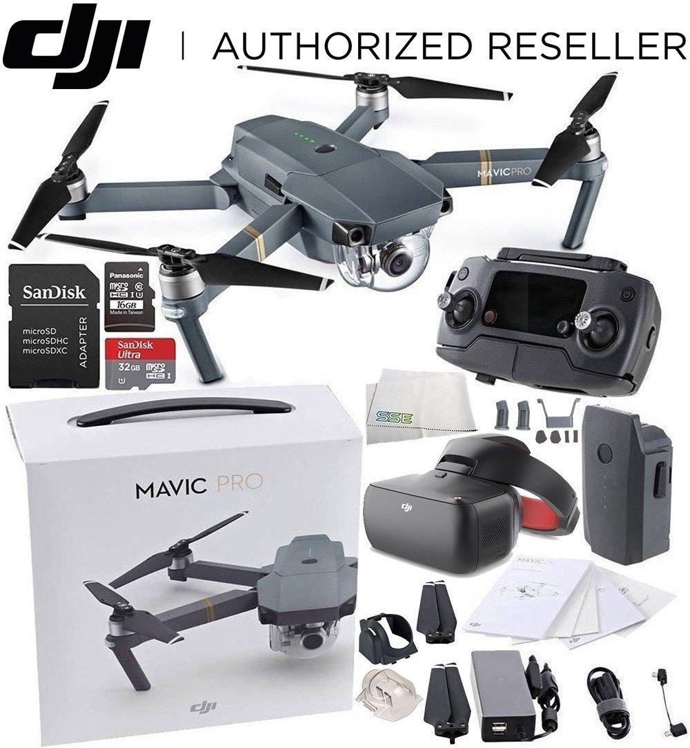 DJI Mavic Pro Collapsible Quadcopter + DJI Goggles Virtual Reality VR FPV POV (Racing Edition) Experience Starter Bundle