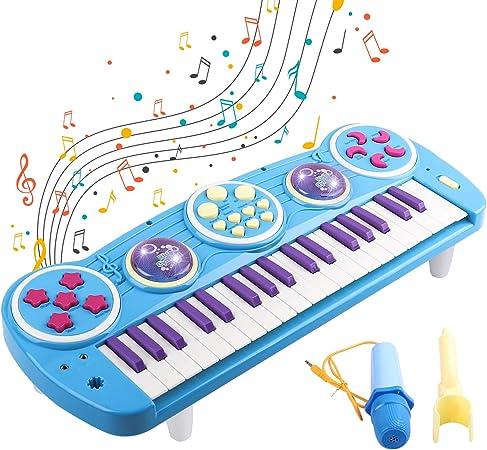 Piano para niños, 37 Teclado electrónico multifunción clave Play Instrumentos de música para piano Juguetes con micrófono Juguete educativo para niños ...