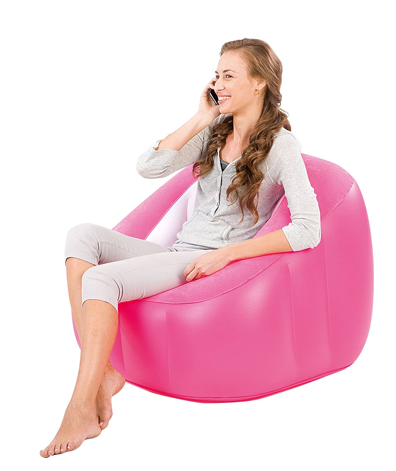 Bestway 75046 Comfort Quest Comfi Cube Inflatable Gaming Chair Sofa Seat Lounger PINK 75046B