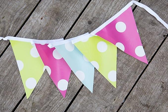 Banderines de PVC para jardín d-c-fix®, 3,5 m, 12 banderines con lunares (rosa, azul y verde lima), 21 cm x 18 cm x 3,5 m: Amazon.es: Hogar