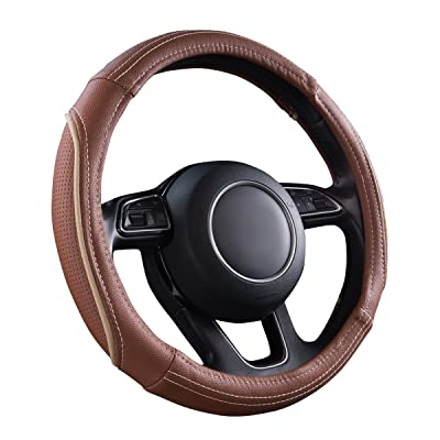 CAR PASS Line Rider Universal Fit Delux Leather Steering Wheel Cover, for suvs,sedans,Vans,Trucks(Caynne): Automotive