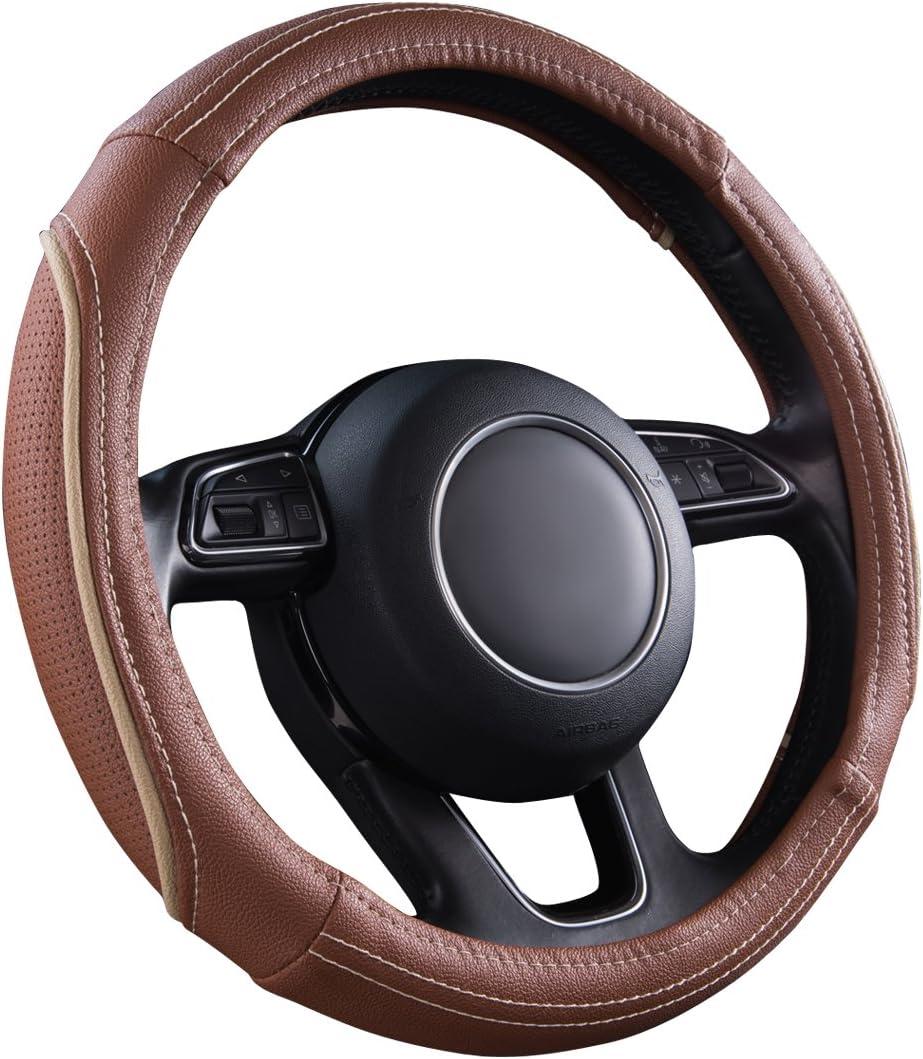adatto per camion auto bianco e nero berlina SUV Car PASS Line Rider Coprivolante universale in pelle