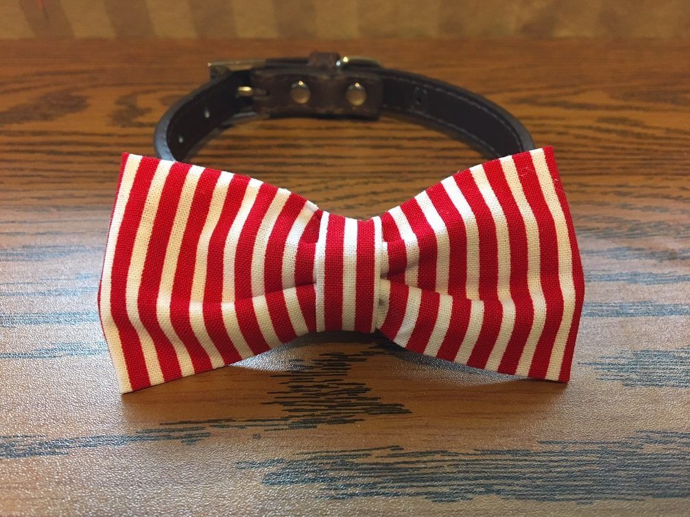 Red & White Strips-Dog Bow Tie by Creations by Glo