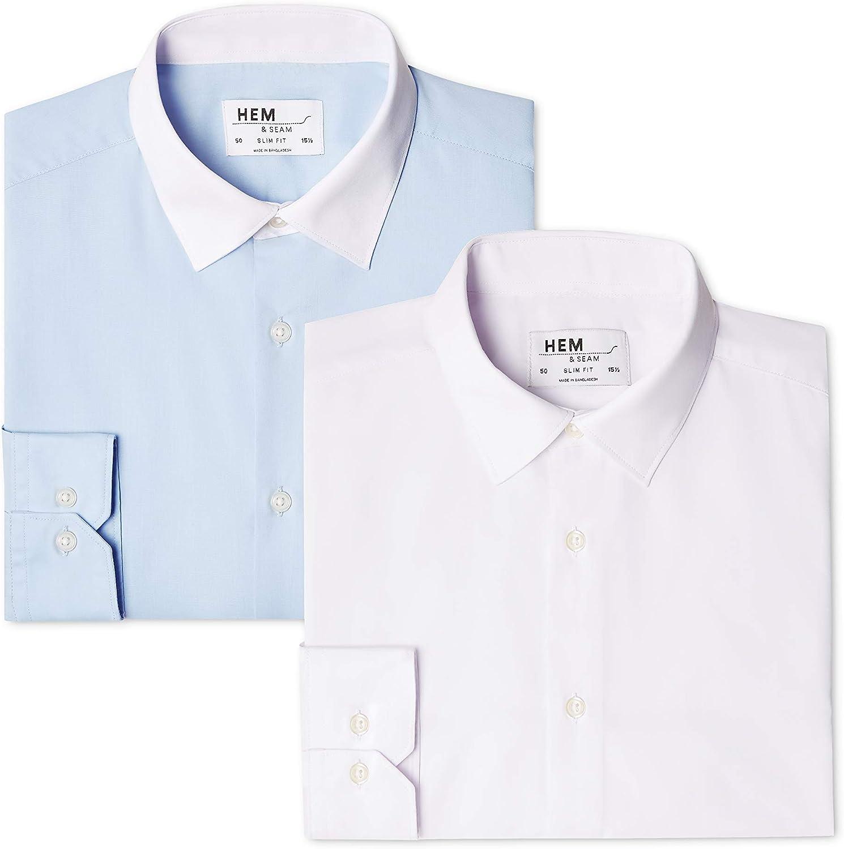 2 Pack Slim Shirt Camicia Formale Uomo Pacco da 2 find