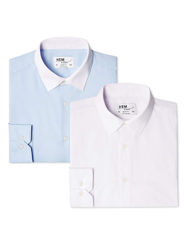 52 Camicia Slim Fit con Colletto a Contrasto Uomo Pacco da 2 Multicolore Contrast Blue With White // White Taglia Produttoree: 16 find