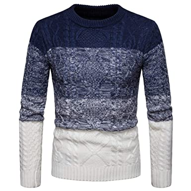 9dc04a22860 Homme Pull Hiver Chaud Col Rond Manches Longues Tricoté Knitwear Casual  Pullover Slim Pas Cher à