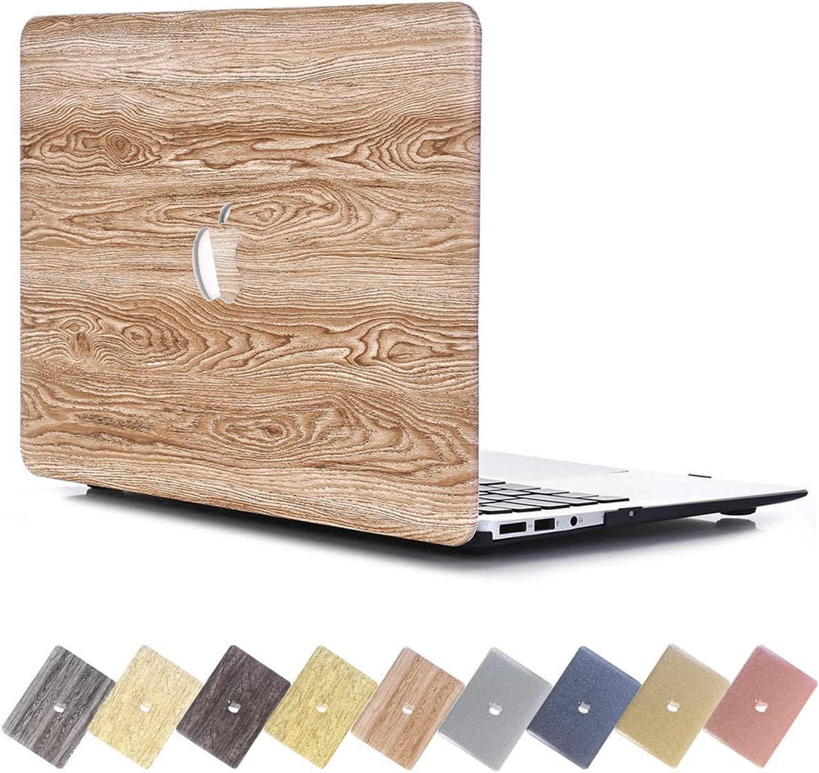 PapyHall MacBook Air 11 inch Case, Creative Wood Grain Macbook [Full Body Protective] Plastic Hard Case for Apple Macbook Air 11 inch Model : A1370/A1465 - Sallow