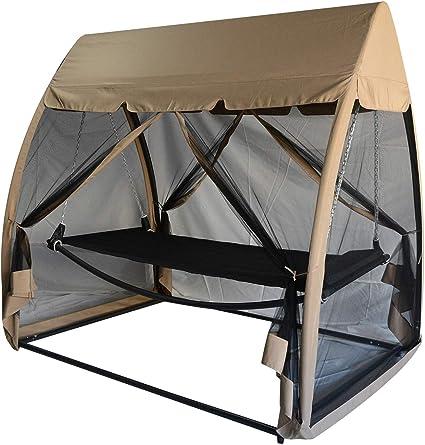 Metal 3 Seat Garden Bench Swing Chair Hammock Roof Mosquito Net Patio Outdoor UK