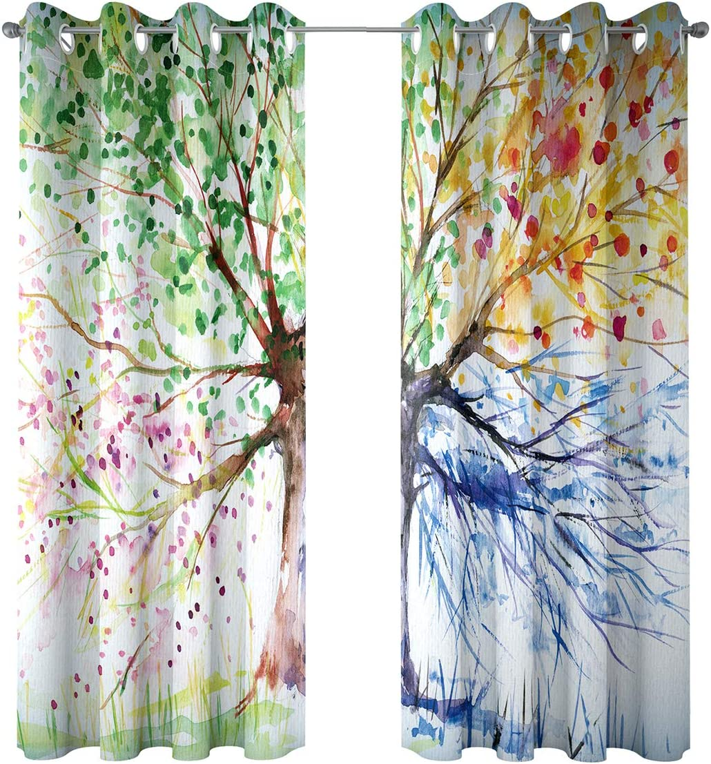 Riyidecor Watercolor Tree Windows Curtains Blackout Colorful Nature Abstract Art Navy Crayon Four Seasons Spring for Living Room Bedroom Window Drapes Treatment Fabric 2 Panels 52 x 84 Inch