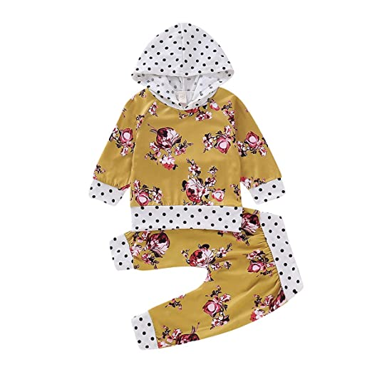 66b4ca9e9 Amazon.com  Newborn Baby Girls Hoodies Outfits Pocket Tops Floral ...