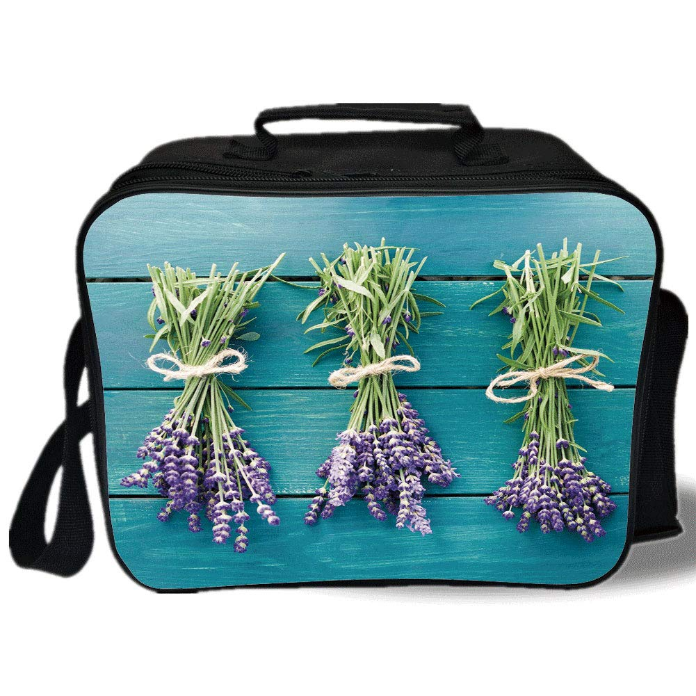 Insulated Lunch Bag,Lavender,Fresh Lavender Bouquets on Blue Wooden Planks Rustic Relaxing Spa Decorative,Sky Blue Lavender Green,for Work/School/Picnic, Grey