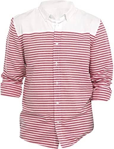 Camisa Mixta lisa y rayada de manga larga remangable hombre ...