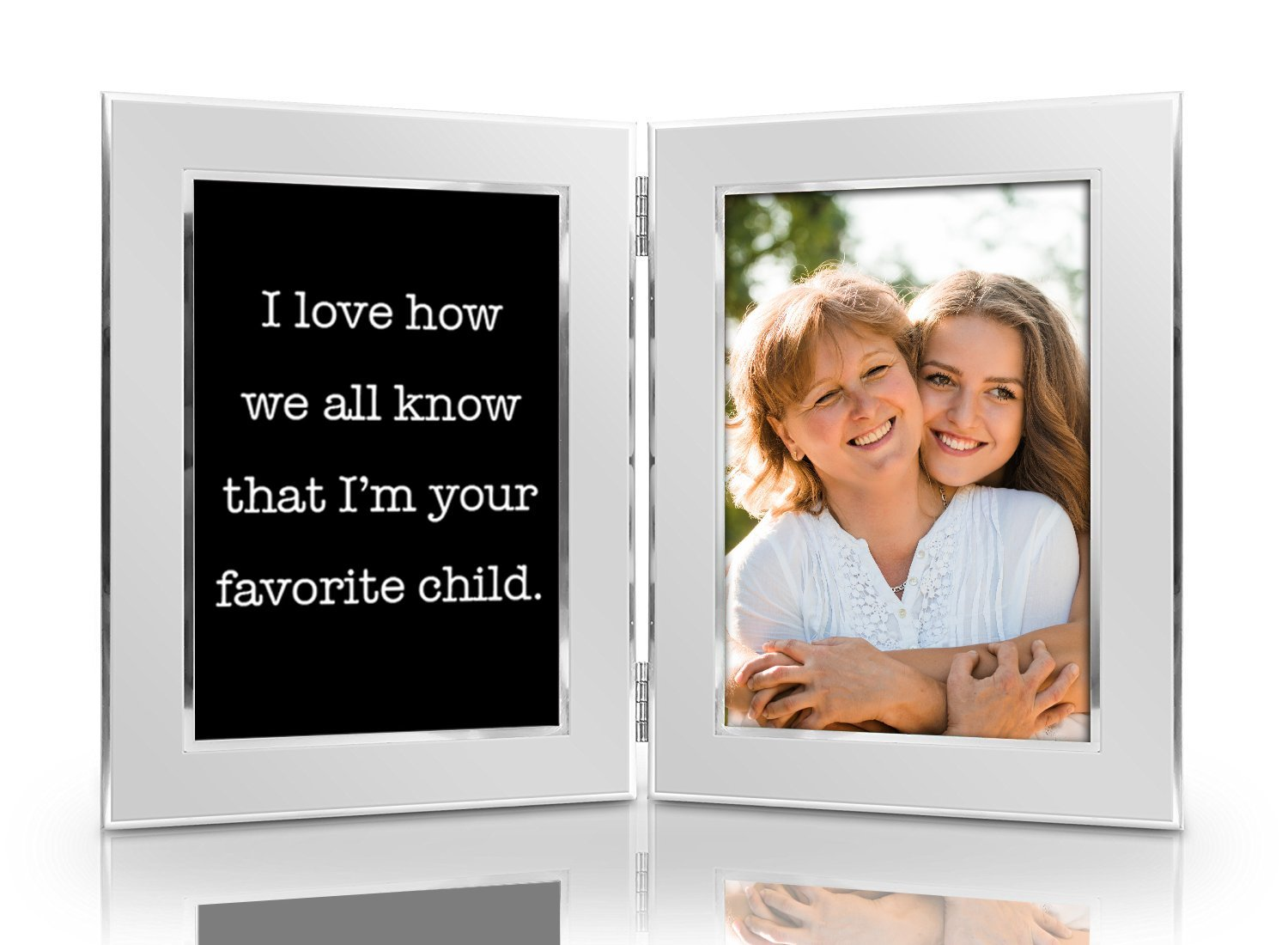 I Love How We All Know That I'm Your Favorite Child 4x6 Funny Picture Frame Set - Premium Double Hinged Frames - Gift for Mom, Dad, Husband, Wife, Men, Women Birthday, Mother's Father's Day Christmas
