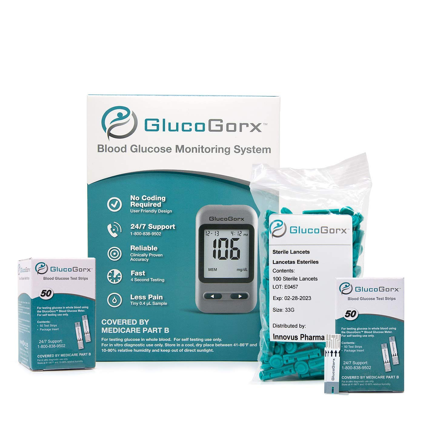 Blood Glucose Diabetes Testing Kit by GlucoGorx - Includes 110 Blood Test Strips, 125 Sterile Lancets, Glucometer, Depth Controlled Lancing Device, Control Solution and User Manual with Carrying Case