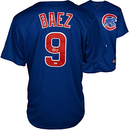 new arrival 0dd63 cd7d9 Javier Baez Chicago Cubs Autographed Majestic Replica Blue ...