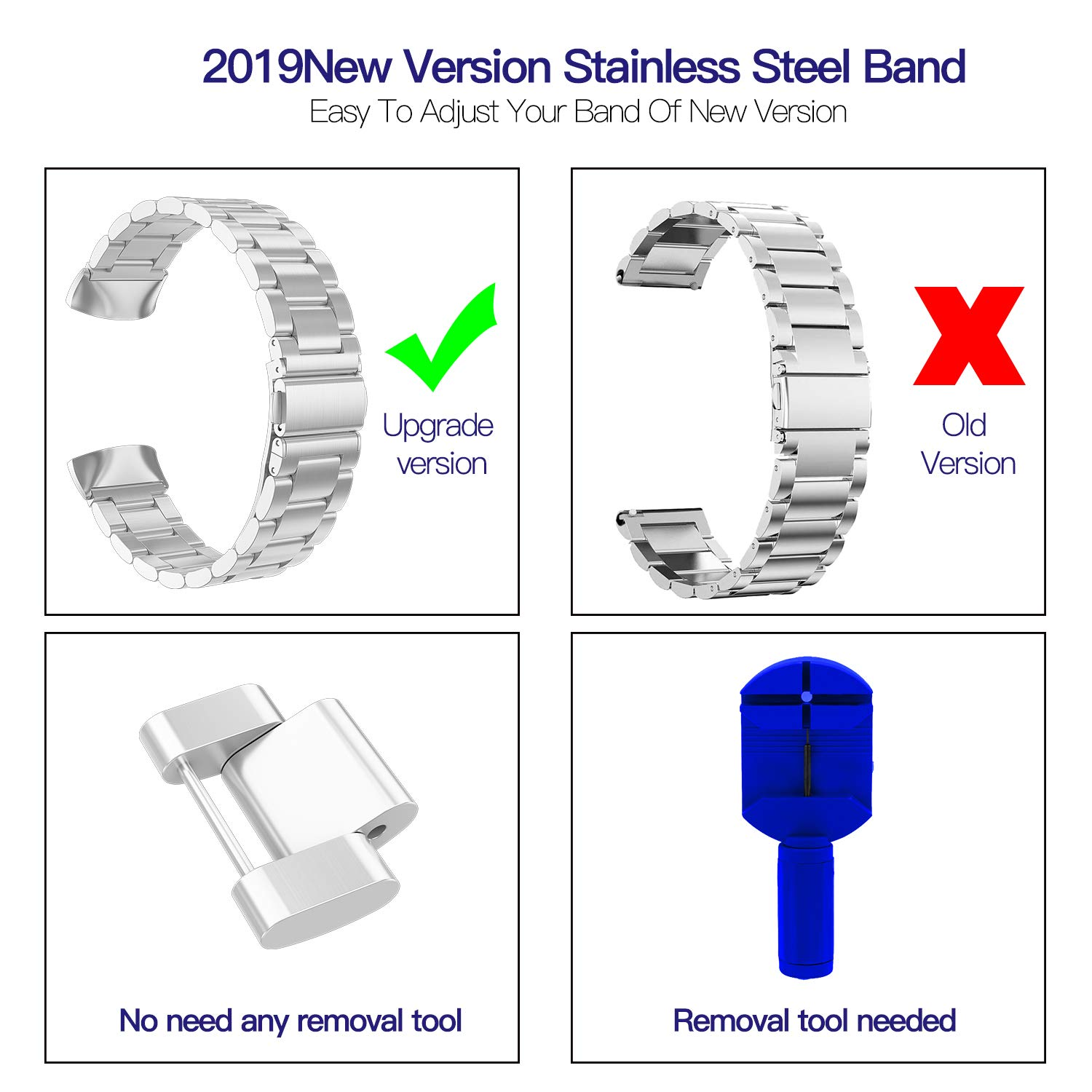 Replacement for Charge 2 Band, 316L Stainless Steel Compatible Accessory  Bracelt Band Small,Large Metal Bands for Charge 2 Band/Charge 2  Bands/Charge