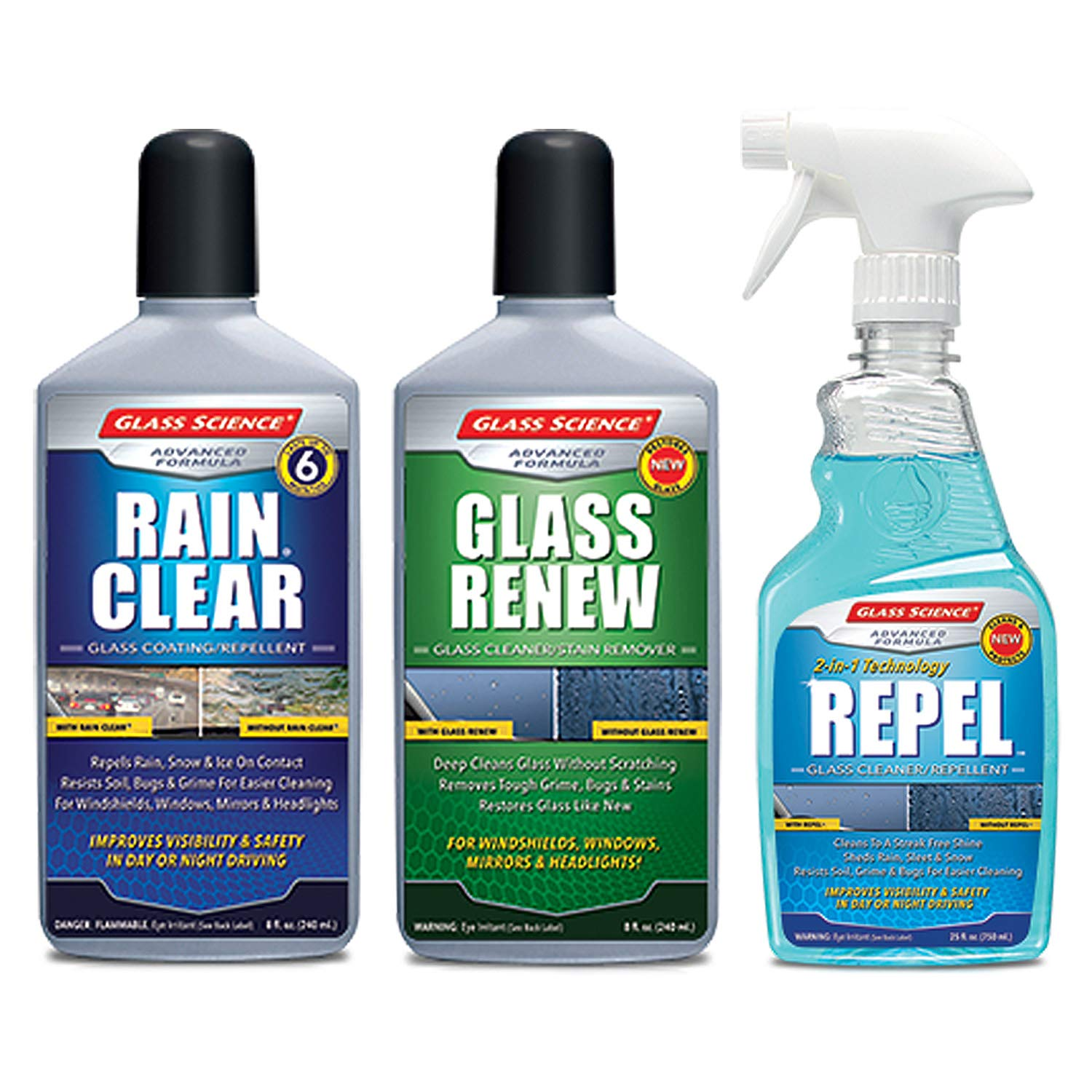 Rain Clear Water Repellent Auto Detailing Essentials 3 pack from Glass Science