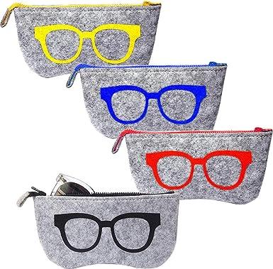 EMAGEREN 4pcs Fundas de Gafas Portátiles Bolsa para Gafas Estuche de Gafas de Sol Estuche de Gafas de Fielto, 4 Color de Dibujo, Funda para Gafas con Cinturon Bolsa de Almacenamiento: Amazon.es: