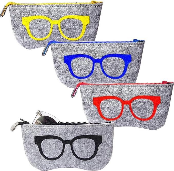 EZESO Bolsa de almacenamiento para gafas de sol de fieltro bolsa de almacenamiento port/átil 3 unidades funda de bolsillo para gafas