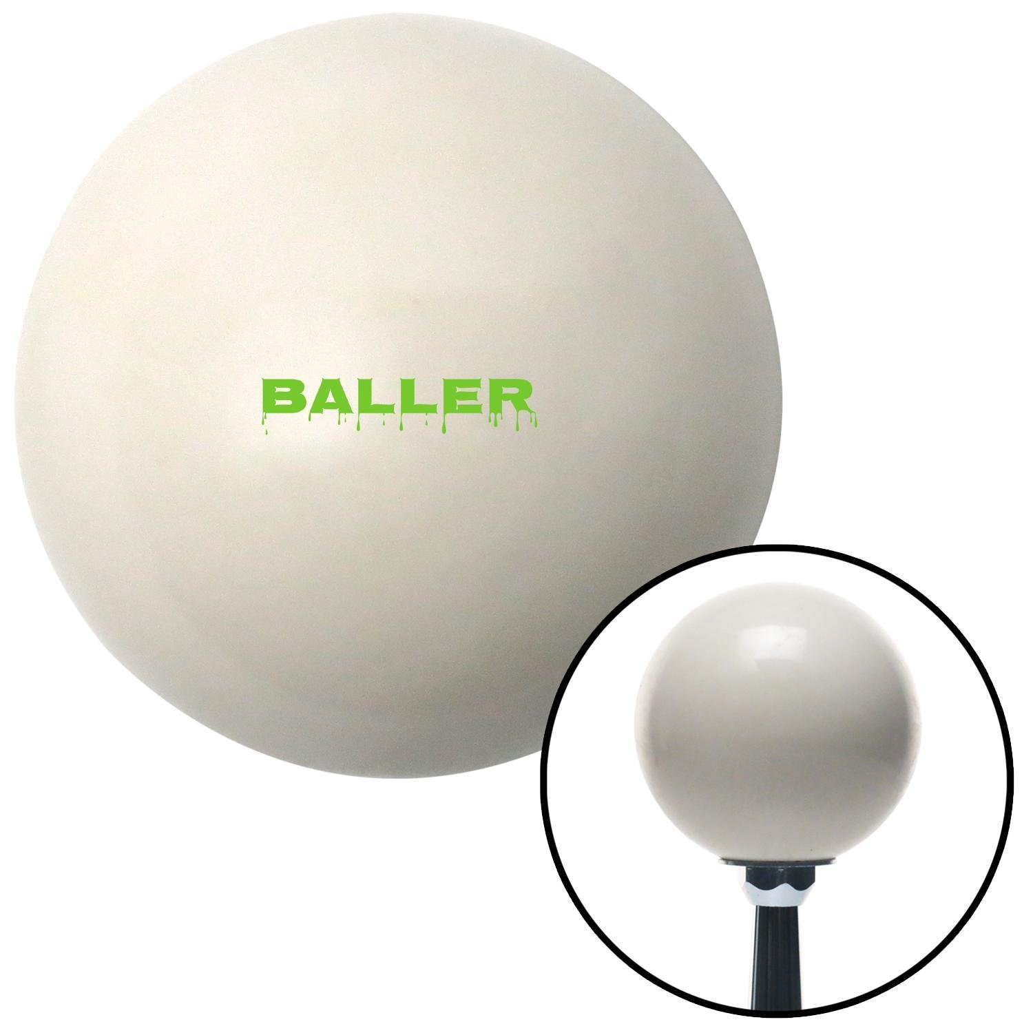 ASCSNX1590754 Green Baller Ivory with M16 x 1.5 Insert American Shifter 269722 Shift Knob