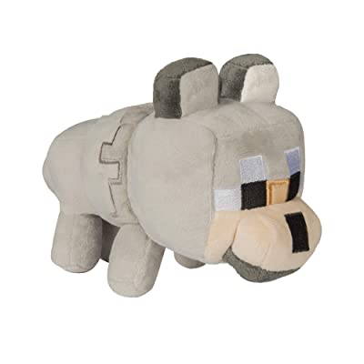 "JINX Minecraft Happy Explorer Untamed Wolf Plush Stuffed Toy, Gray, 5.5"" Tall: Toys & Games"
