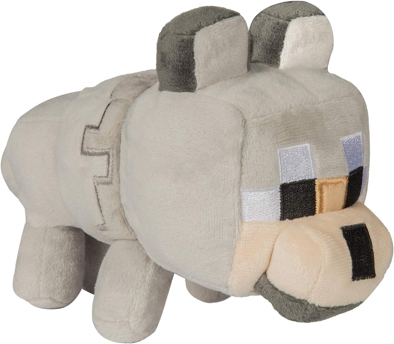 "JINX Minecraft Happy Explorer Untamed Wolf Plush Stuffed Toy, Gray, 8.8""  Tall"