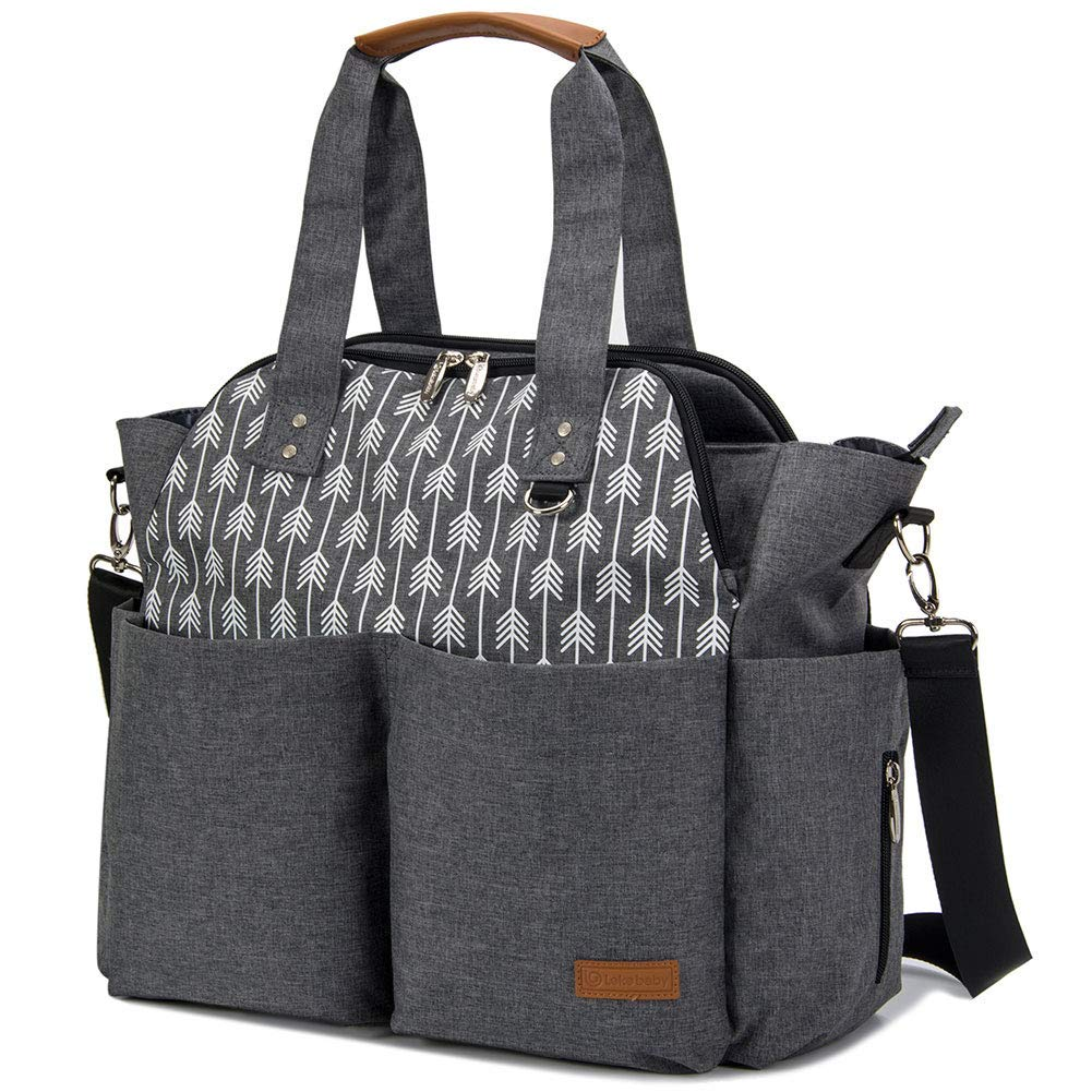 Lekebaby Diaper Bag Tote Purse Satchel Diaper Messenger for Mom and Girls Grey, Arrow Print by Lekebaby