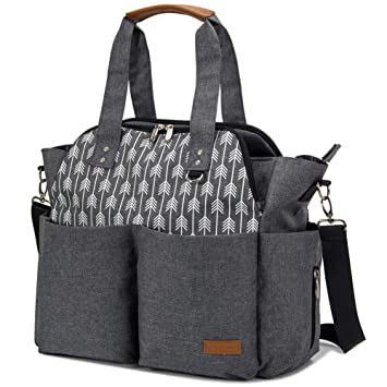 e360f306f252 Lekebaby Diaper Bag Tote Satchel Diaper Messenger for Mom and Girls in  Grey, Arrow Print