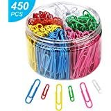Paper Clips, 450Pcs Colored Paper Clips, Paper Clips with Medium 28mm and Jumbo Sizes 50mm, 6 Assorted Colors Paper…