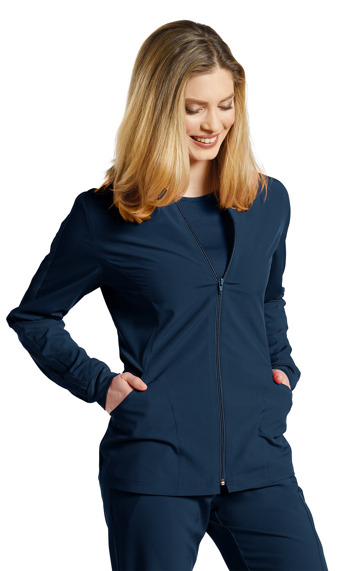 Fit by White Cross Women's 957 Zip up Mesh Accent Warm up Jacket- Navy- Medium