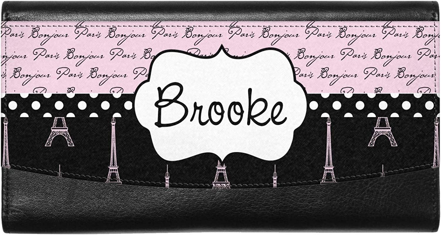 Personalized Black Eiffel Tower Genuine Leather Front Pocket Wallet