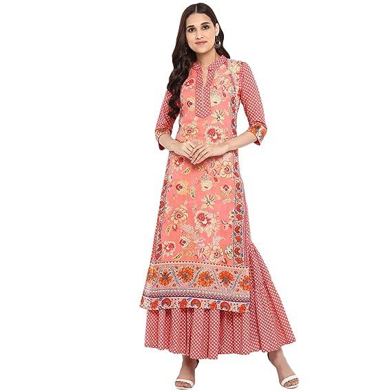 a4f2e5a3d794d Rajwada Creations Designer Printed Kurta Kurti with Sharara Pant Set Pink