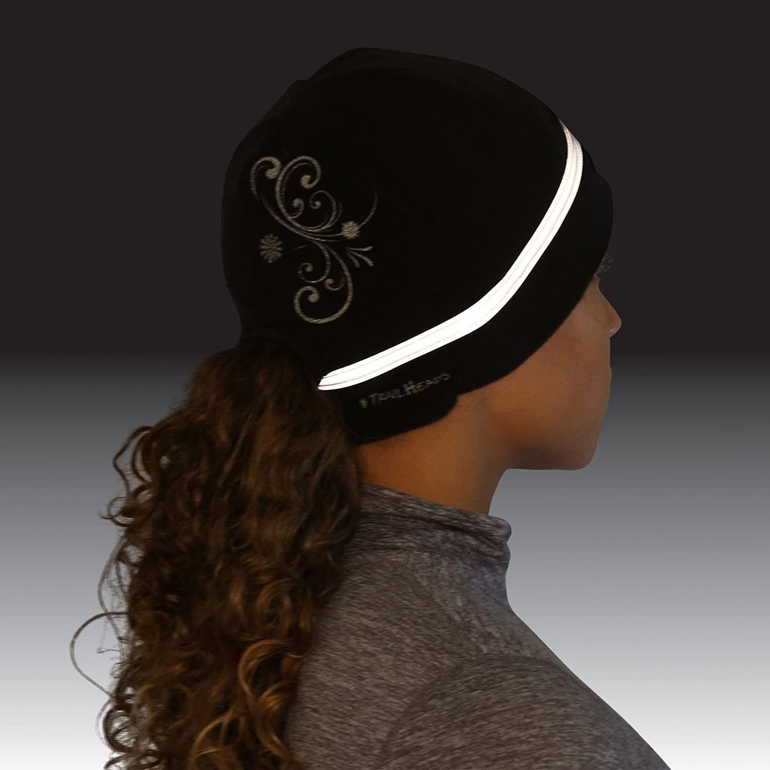 Made in USA Reflective Cold Weather Running Beanie TrailHeads Womens Ponytail Hat