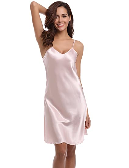 4ecbe59e33 Aiboria Nightgowns for Women Satin Slip Sleepwear Nightshirt Sexy  Shadowline Spaghetti Strap Chemise, Pink, L at Amazon Women's Clothing  store: