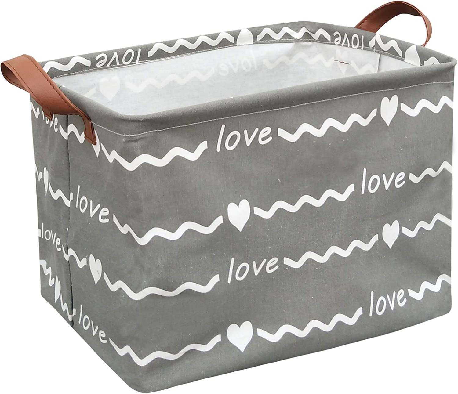 Sanjiaofen Rectangular Fabric Storage Bin,Collapsible Storage Basket,Waterproof Coating Toy Organizer with Handles,Gift Basket for Home,Office,Clothes,Toy,Shelf Basket(Rec-Wave Love)