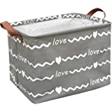 Sanjiaofen Rectangular Fabric Storage Bin,Collapsible Storage Basket,Waterproof Coating Toy Organizer with Handles,Gift…