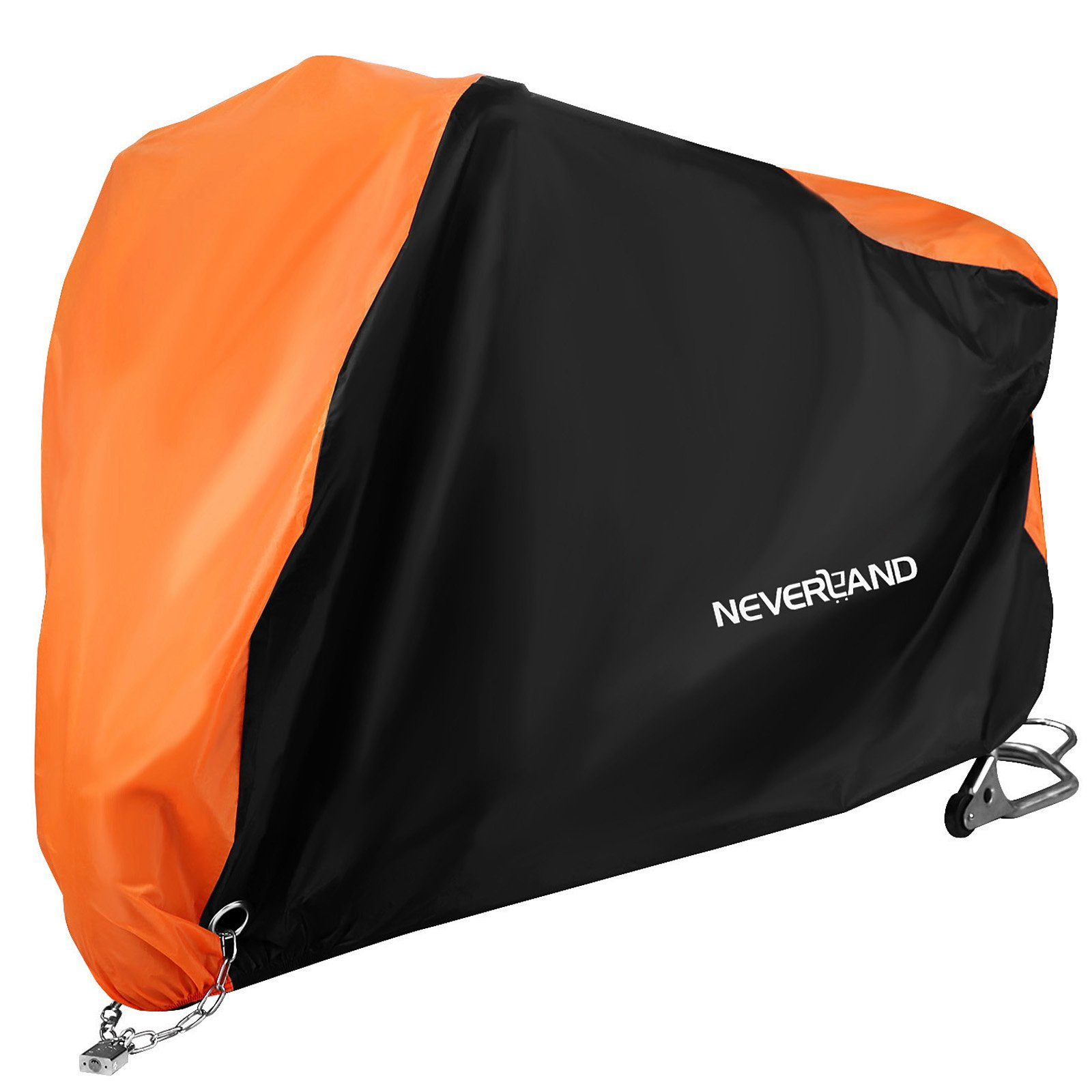 NEVERLAND Motorcycle Cover,Outdoor Waterproof UV Dust Protector Cover,2 Stainless Steel Lock-Holes Fits 82''to 90'' Road,Street,Sport,Touring(Black&Orange)