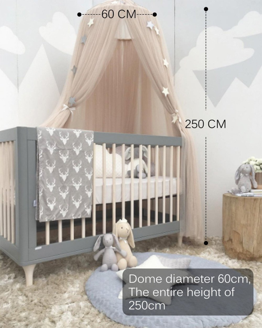ESUPPORT Dome Princess Bed Canopy Round Lace Mosquito Net Play Tent Hanging House Decoration Lace Netting Curtains Indoor Game House for Baby Kids by ESUPPORT (Image #4)