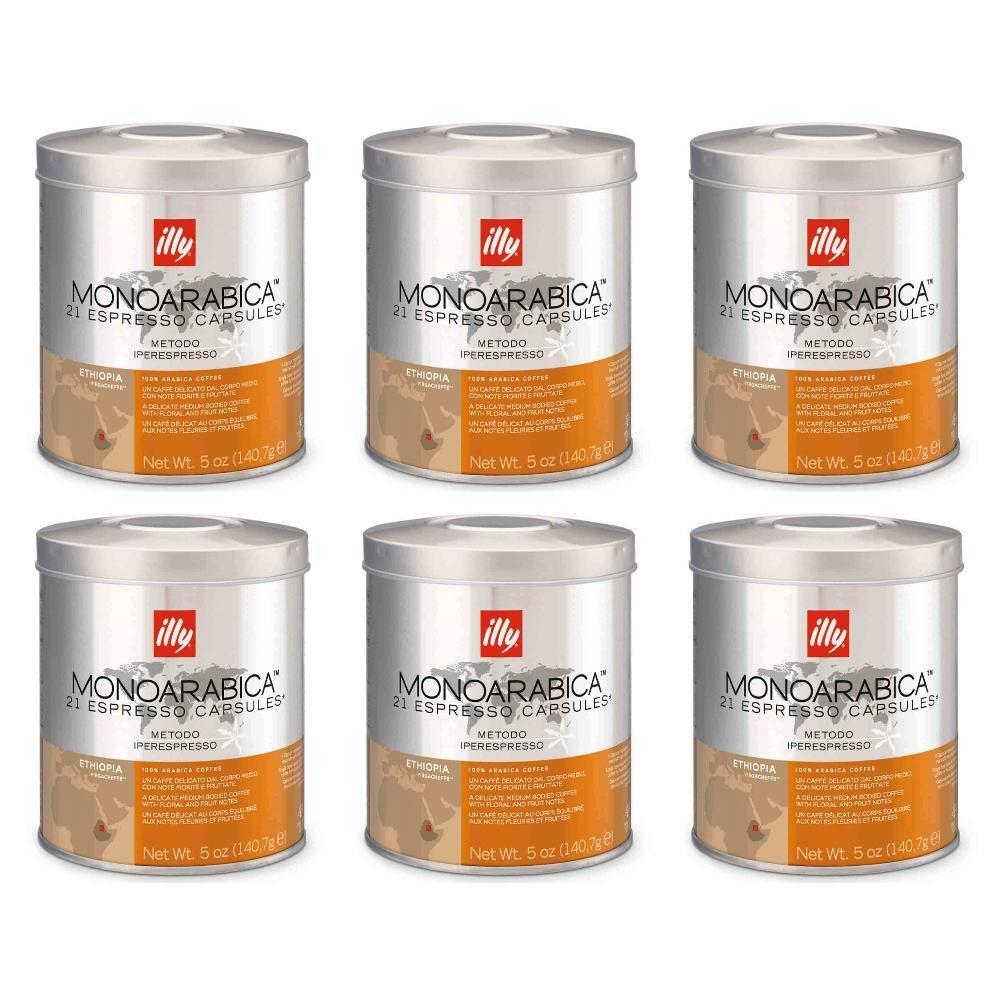 Illy iperEspresso MonoArabica Ethiopia Capsules Medium-bodied Coffee, 21-Count Capsule (Pack of 6)