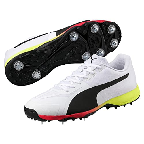 aff1dc475ee410 Puma 2018 Evospeed 18.1 Cricket Spike - White Hi Viz Yellow - UK 9   Amazon.co.uk  Shoes   Bags
