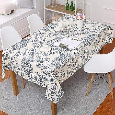 Asinw Mantel de algodón Manteles Rectangular piña Puro algodón impresión Espesado a Minimalista nórdico de Lona Mantel Azul Hotel Mesa Cubierta: Amazon.es: Hogar