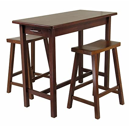 Amazoncom Winsome Kitchen Island Table With Drawers And Saddle - Kitchen island with seating for 2