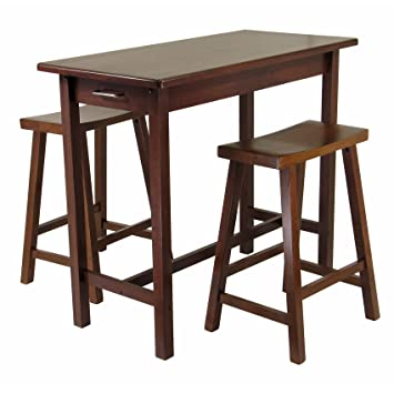 Winsome Kitchen Island Table With 2 Drawers And Saddle Stools, 3 Piece