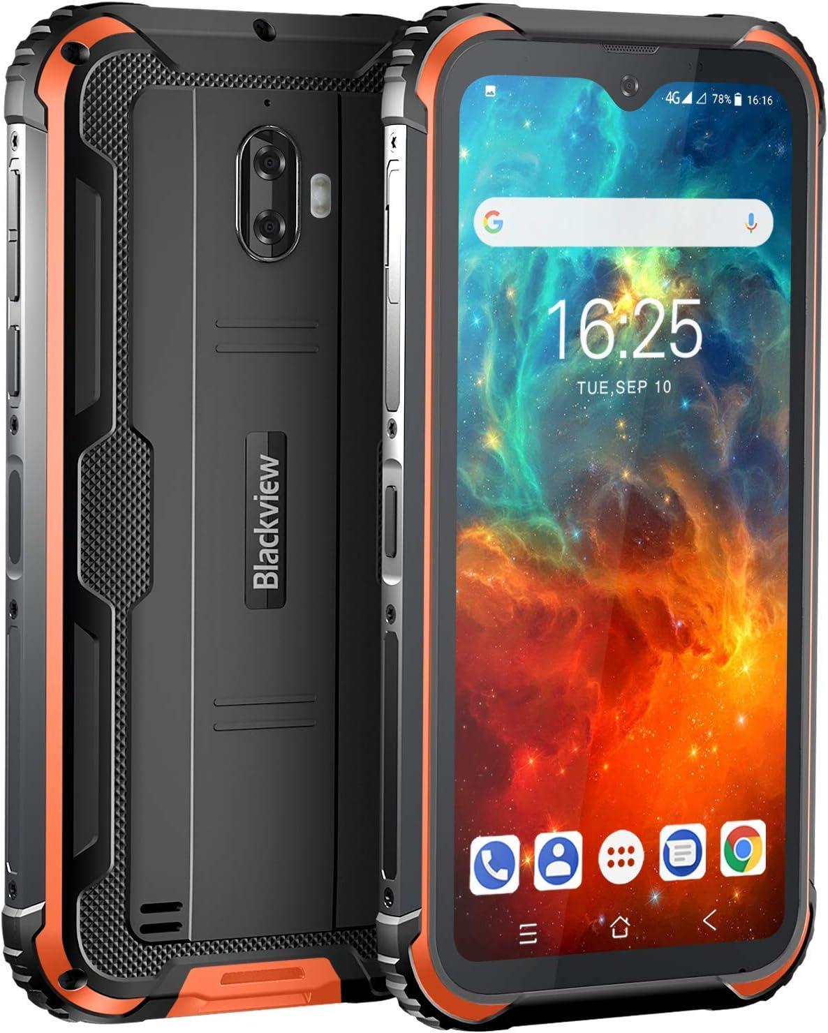 Movil Resistente, Blackview BV5900 Telefono Movil Antigolpes, 5,7 Pulgadas HD+ Display, 4G Android 9.0, Batería 5580mAh, 3GB RAM+32GB ROM, IP68 Impermeable Smartphone, Cámara 13MP+5MP,GPS/NFC-Naranja: Amazon.es: Electrónica