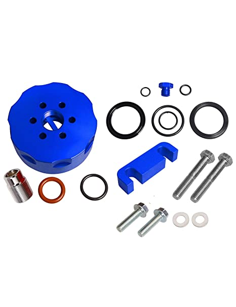 amazon com: blackhorse-racing for chevy duramax gmc 6 6l blue cat fuel  filter adapter & spacer & bleeder & seal kit: automotive
